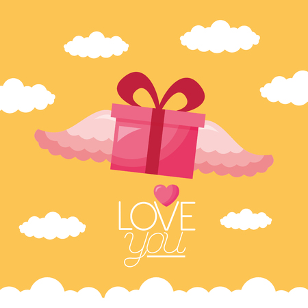 gift box wings valentine day vector illustration