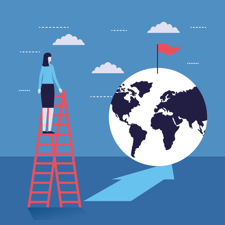 businesswoman on stairs looking world flag success vector illustration