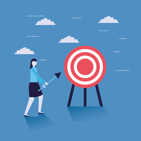 business woman with arrow target vector illustration