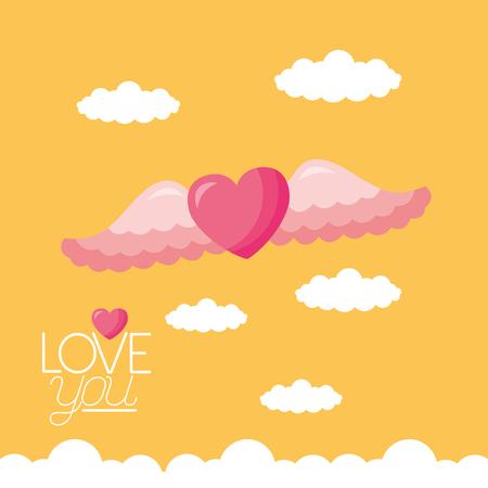 heart love wings valentine day vector illustration Illustration