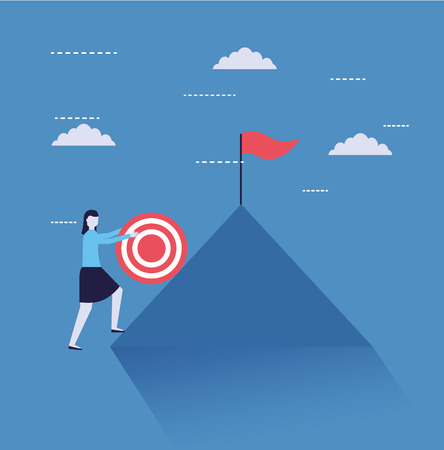 business woman climb mountain with target flag vector illustration