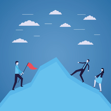 business people success climbing mountain vector illustration