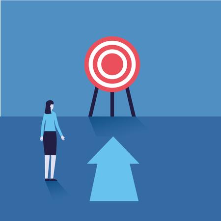 businesswoman target arrow financial success vector illustration Ilustração Vetorial