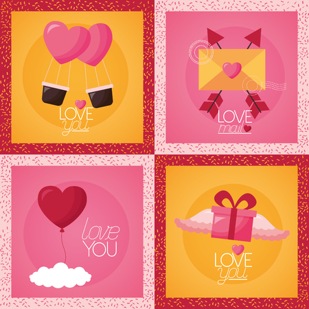 valentine day set love you mail gift vector illustration Illustration