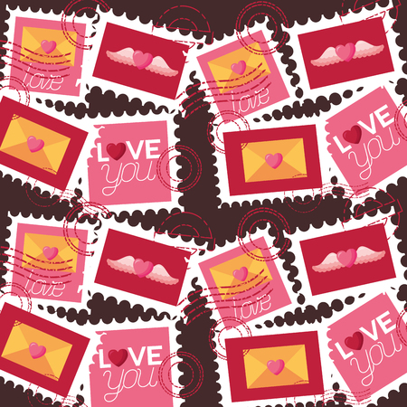 valentine day background post stamp mail vector illustration