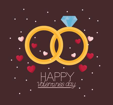 valentine day card wedding rings  vector illustration