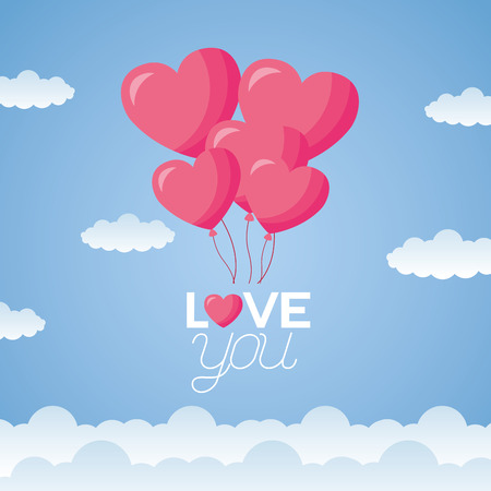 hearts balloons in sky valentine day vector illustration