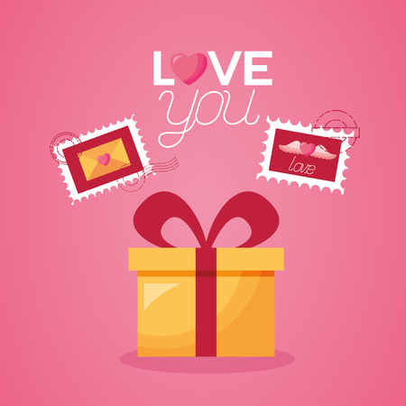 gift box post stamp valentine day vector illustration