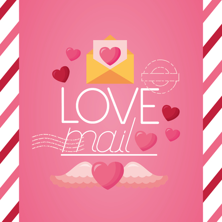 valentine day love mail post stamp vector illustration 일러스트