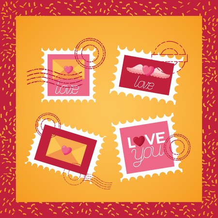 set of post stamp mail love valentine day vector illustration