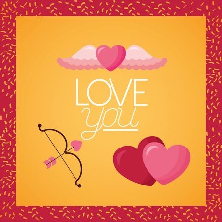 valentine day card love you hearts bow arrow vector illustration Ilustração