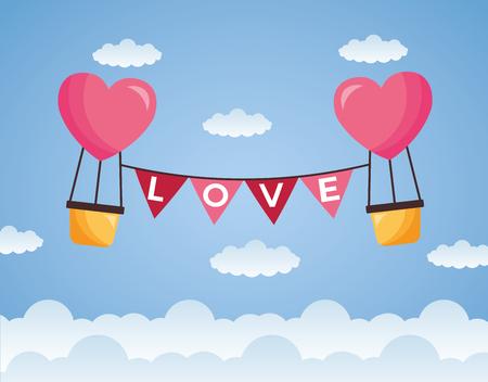 valentine day hot air balloon garland vector illustration