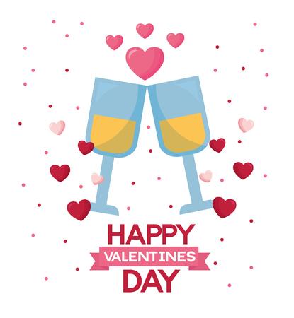 valentine day card champagne cups love celebration  vector illustration
