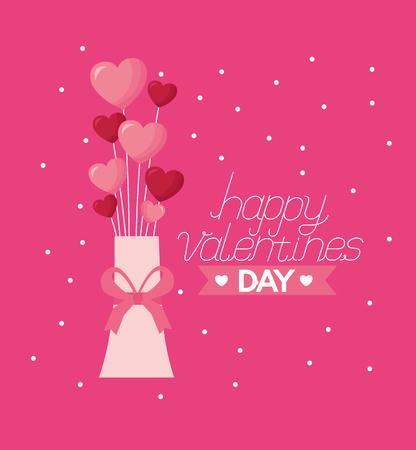 valentine day card vase hearts rings  vector illustration Illustration
