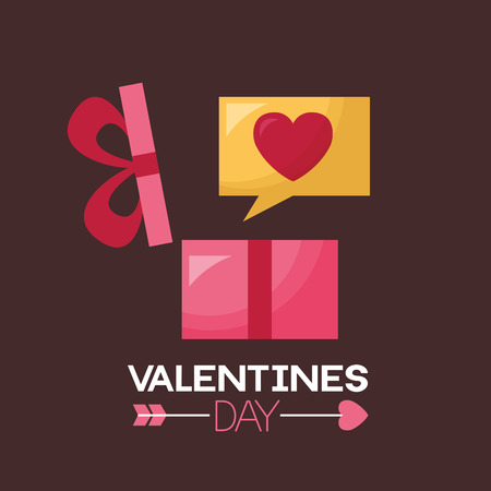 valentine day card gift box and message love  vector illustration