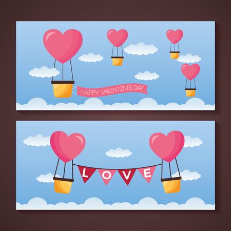 valentine day banner hot air balloon garland love vector illustration