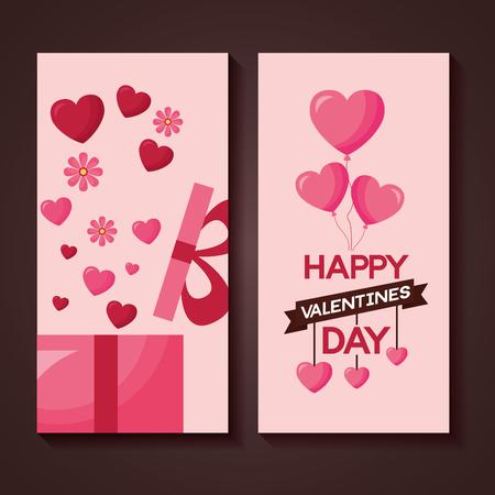 valentine day banner gift balloons vector illustration