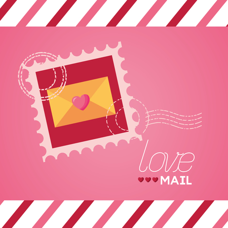 valentine day love mail post stamp vector illustration Vectores
