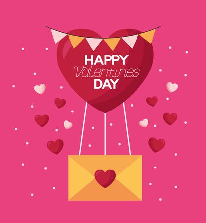 valentine day card balloon message love hearts  vector illustration Illustration