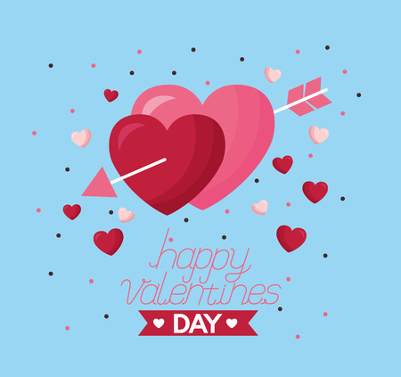 valentine day card love hearts pierced arrow  vector illustration Illustration