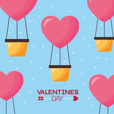 valentine day hot air balloons love background  vector illustration