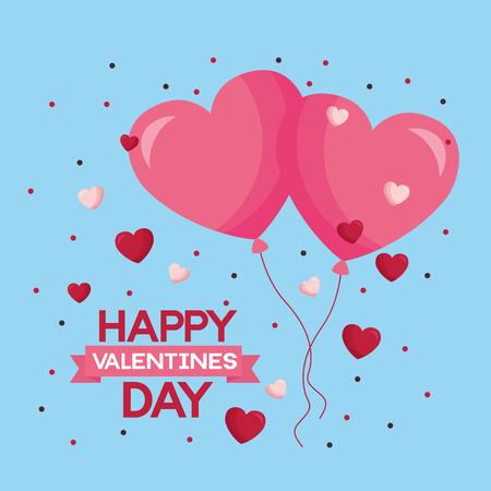 valentine day card flying hearts balloons love  vector illustration Stock Vector - 114751594