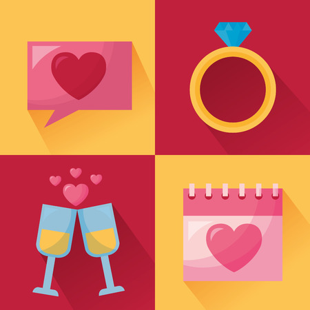 happy valentines day card ring calendar mail celebration vector illustration Vectores
