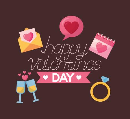happy valentines day card ring calendar mail celebration vector illustration Foto de archivo - 126419874