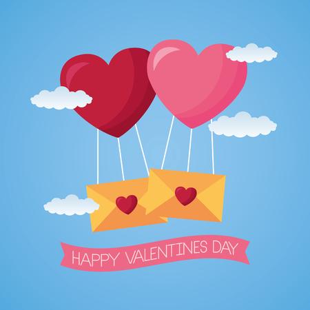 balloons mail envelope hearts valentine day vector illustration Stockfoto - 126419886