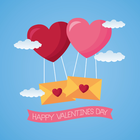 balloons mail envelope hearts valentine day vector illustration Illustration