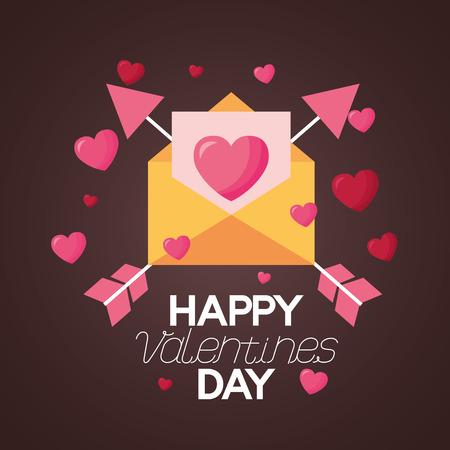 mail love arrows valentine day vector illustration