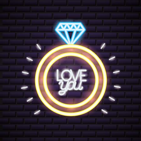 valentine day neon wedding ring vector illustration neon