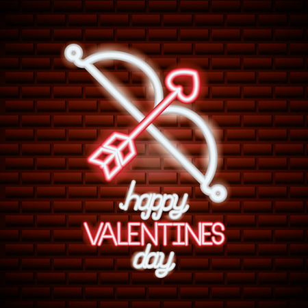 cupid bow arrow valentine day vector illustration neon Illustration