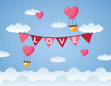 air balloon garland decoration love valentine day vector illustration