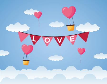 air balloon garland decoration love valentine day vector illustration