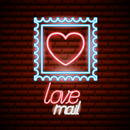 post stamp love valentine day vector illustration neon