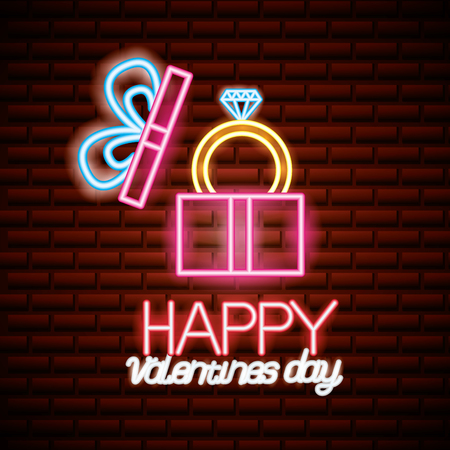 wrapped gift box with ring valentine day vector illustration neon