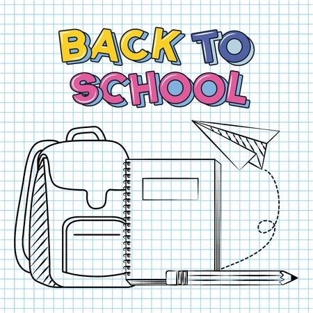 back to school bag book pencil paper plane vector illustration sketch