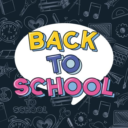 back to school bubble sign icons background vector illustration sketch