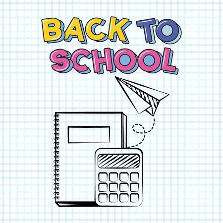 back to school calculator book paper plane vector illustration sketch