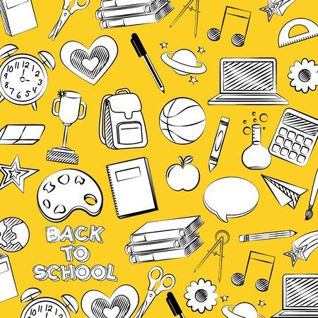 tools icons back to school background vector illustration sketch