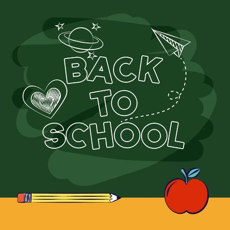 back to school apple and pencil green background vector illustration