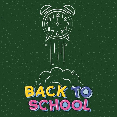 alarm clock launching back to school vector illustration