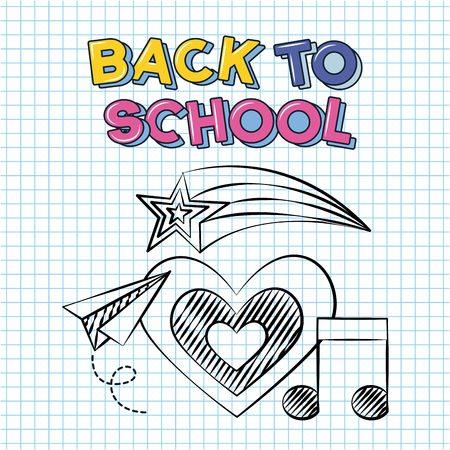 shooting star heart music icon oaper plane back to school vector illustration sketch