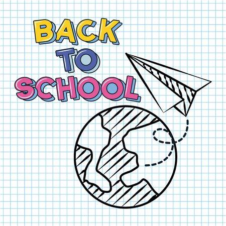 world paper plane back to school vector illustration sketch
