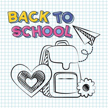 bag paper plane heart flower back to school vector illustration sketch Ilustração