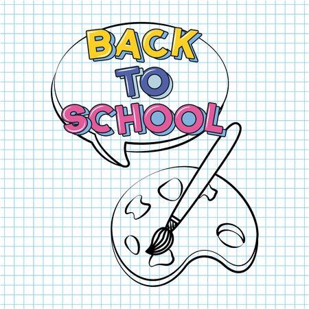 back to school color palette draw vector illustration sketch