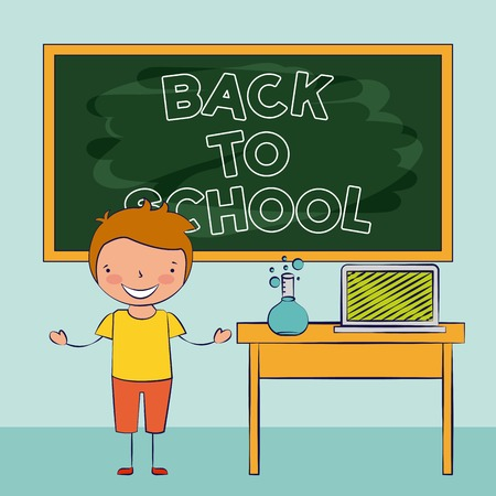 boy with laptop and chemistry flask on desk back to school vector illustration