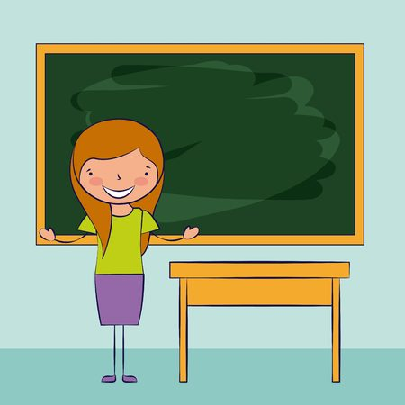 teacher desk board classroom back to school vector illustration