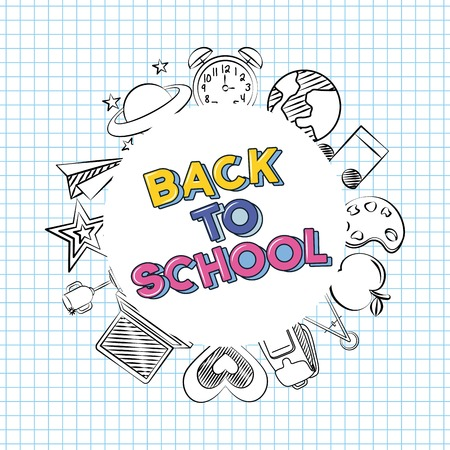 circle back to school tools icons vector illustration sketch Zdjęcie Seryjne - 126381103